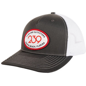 239 Happy Camper Trucker Patch Hat - Gray/White
