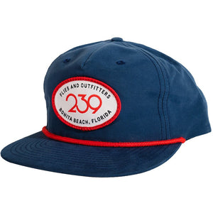 239 Happy Camper Patch Hat - Navy/Red Stripe