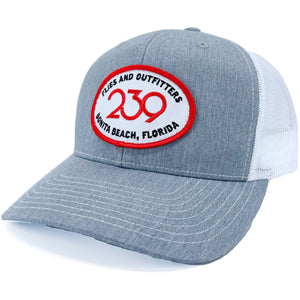 239 Happy Camper Trucker Heather Grey