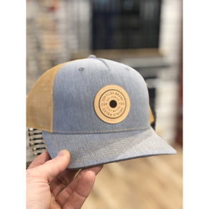 239 Extra Stong Leather Patch Trucker - Grey & Amber
