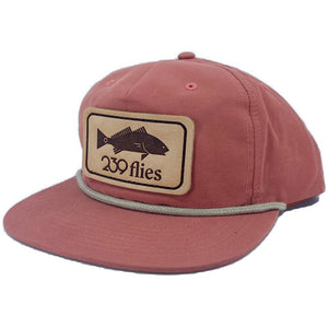 239 Pablo Escobarred Hackle Leather Patch Hat - Redfish