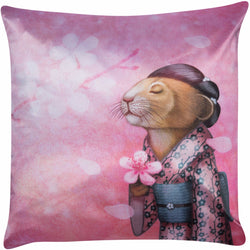 "Lucky Laika Decorative Pillow ""A fallen blossom never returns to the branch"""