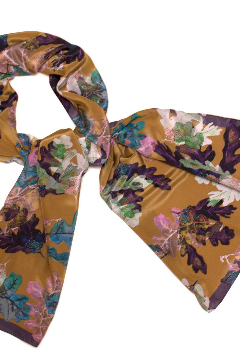 "Silk Shawl ""Oak Leaves Gold"""