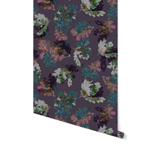 "Wallpaper ""Oak Leaves Dark Purple"""