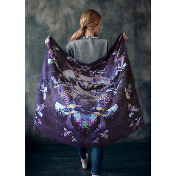 "Silk Wool Scarf ""Birds"""