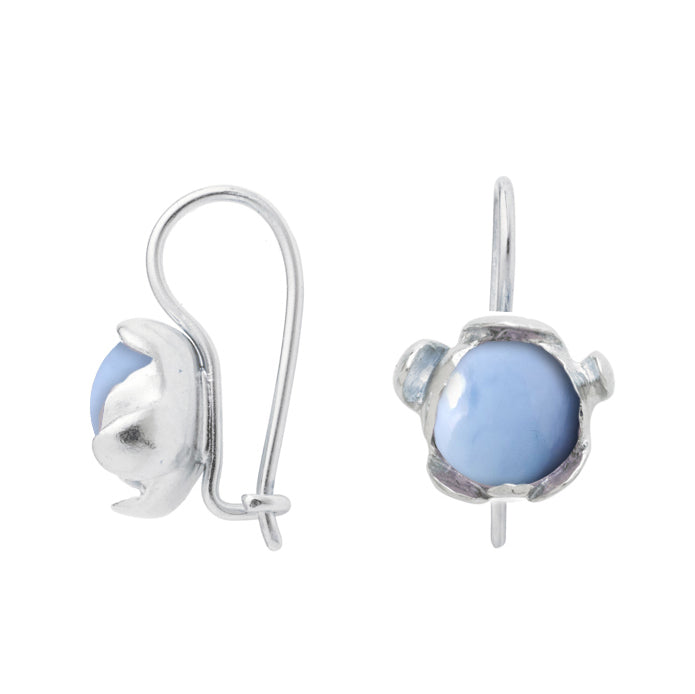 "Blossom Earrings ""Blue Peruvian Opal"""