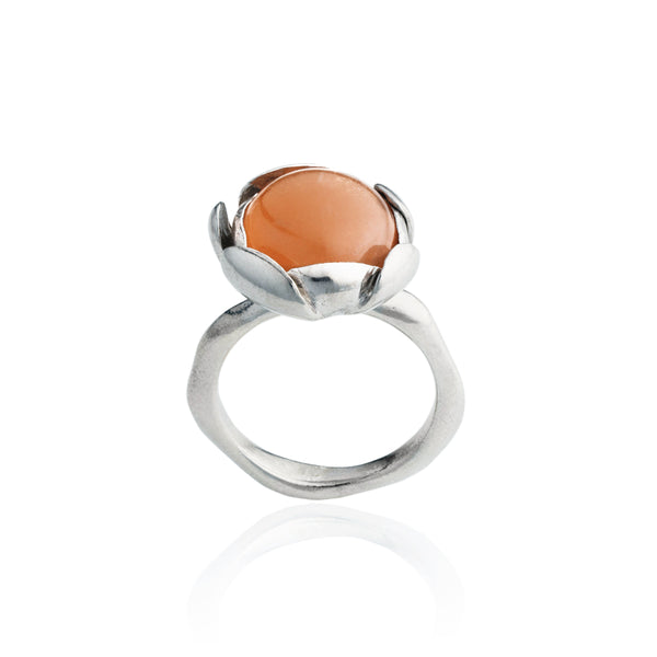 "Blossom Ring ""Peach Moonstone"" Large"