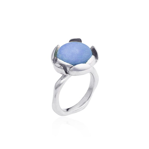 "Blossom Ring ""Blue Peruvian Opal"" Large"