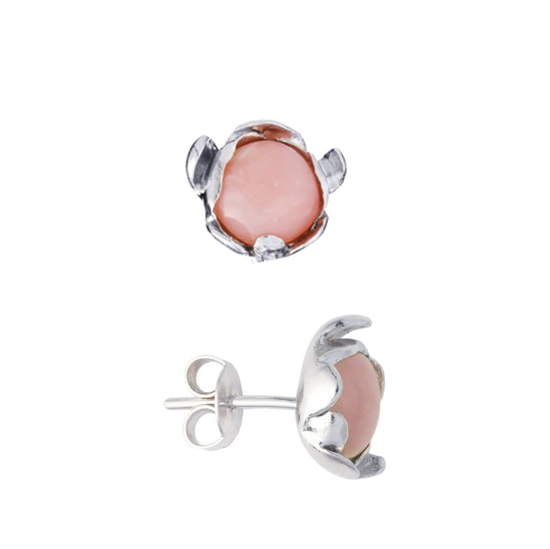 "Blossom Earrings ""Pink Peruvian Opal"""