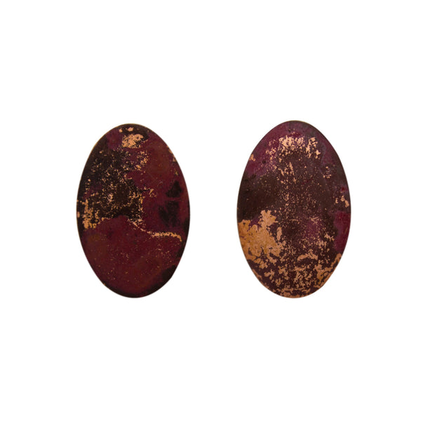 "Two Cents Earrings ""Bright Patterned Dark"" M"