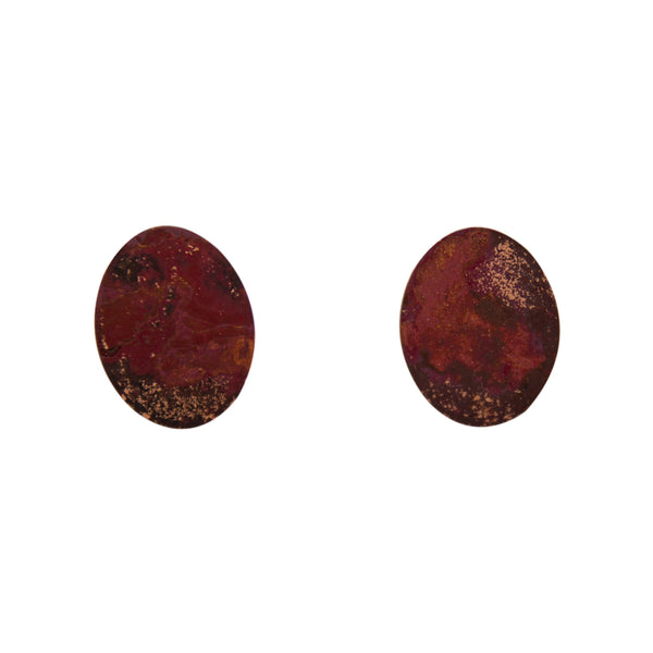"Two Cents Earrings ""Bright Patterned Dark"" S"