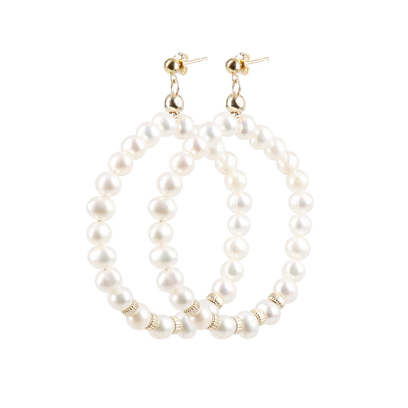 "Hoops Earrings ""Grey Pearl"" Classic"