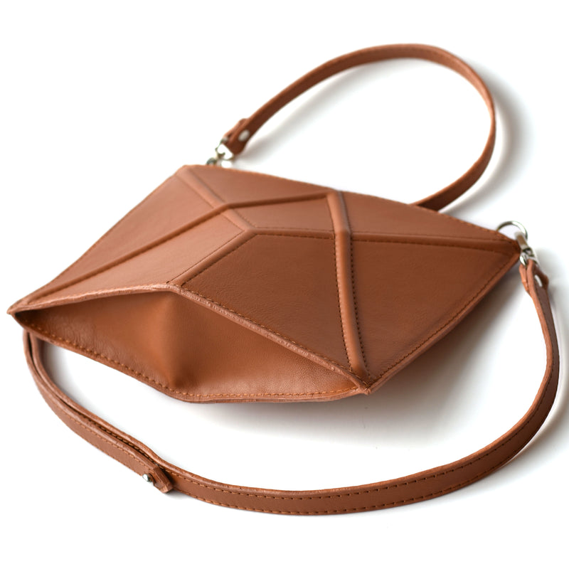 "Facet mini bag ""Caramel brown"""