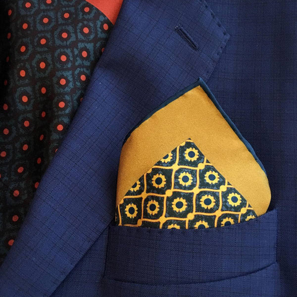 "Pocket Square ""Evel Eye Mustard"""