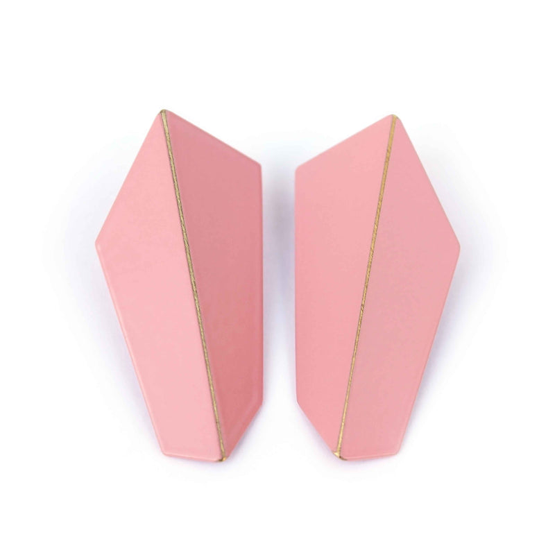 "Folded Vertical Earrings ""Light Pink"""