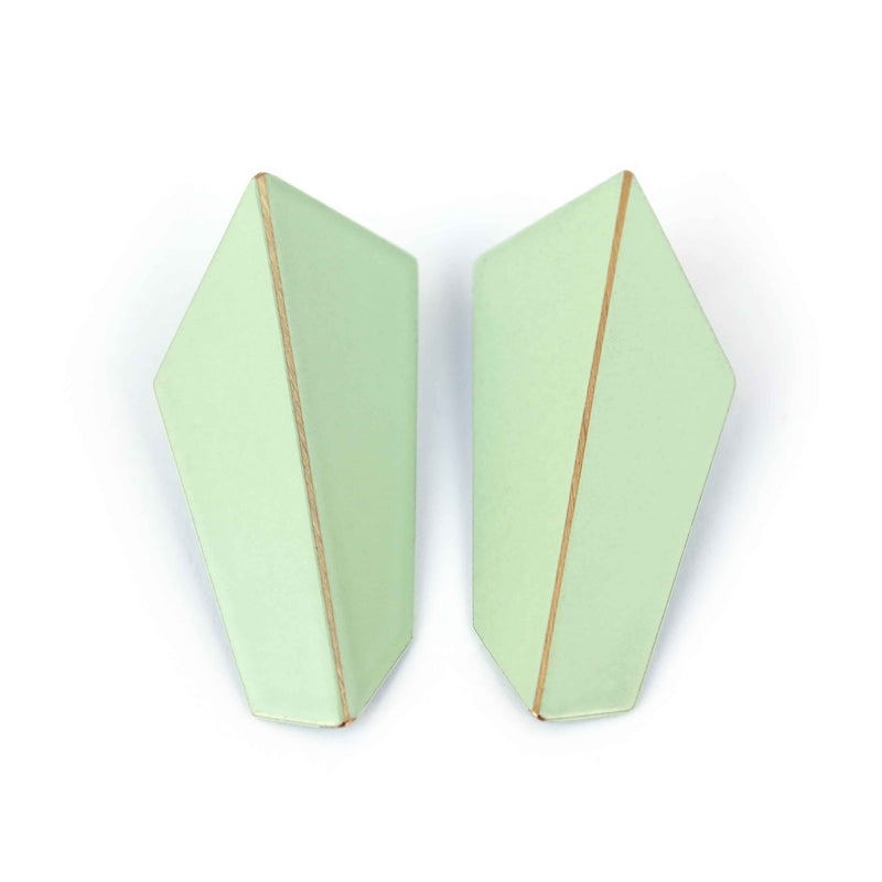 "Folded Vertical Earrings ""Pastel Green"""