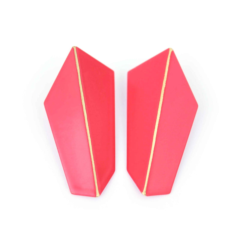 "Folded Vertical Earrings ""Strawberry Red"""