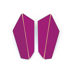"Folded Vertical Earrings ""Traffic Purple"""
