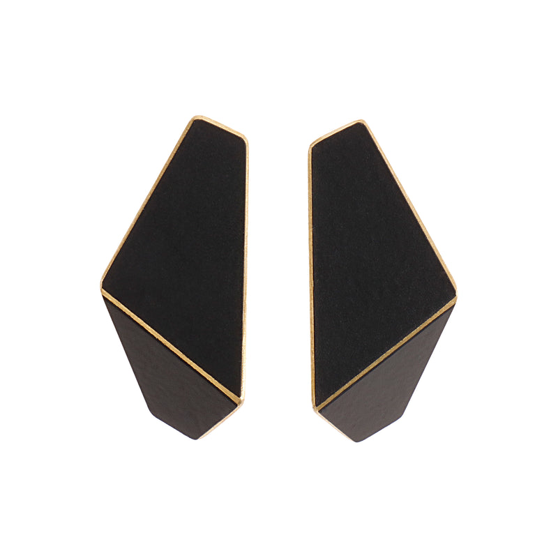 "Folded Slim Earrings ""Jet Black"""