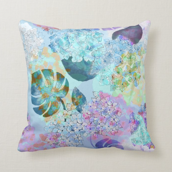 "Decorative Pillow ""HYDRANGEA PARADISE IN BLUE"""