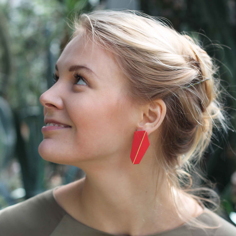 "Folded Vertical Earrings ""Coral Red"""