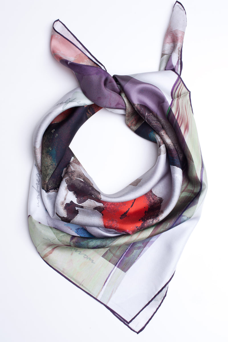 "Silk Scarf ""Pirate Woman Violet"""