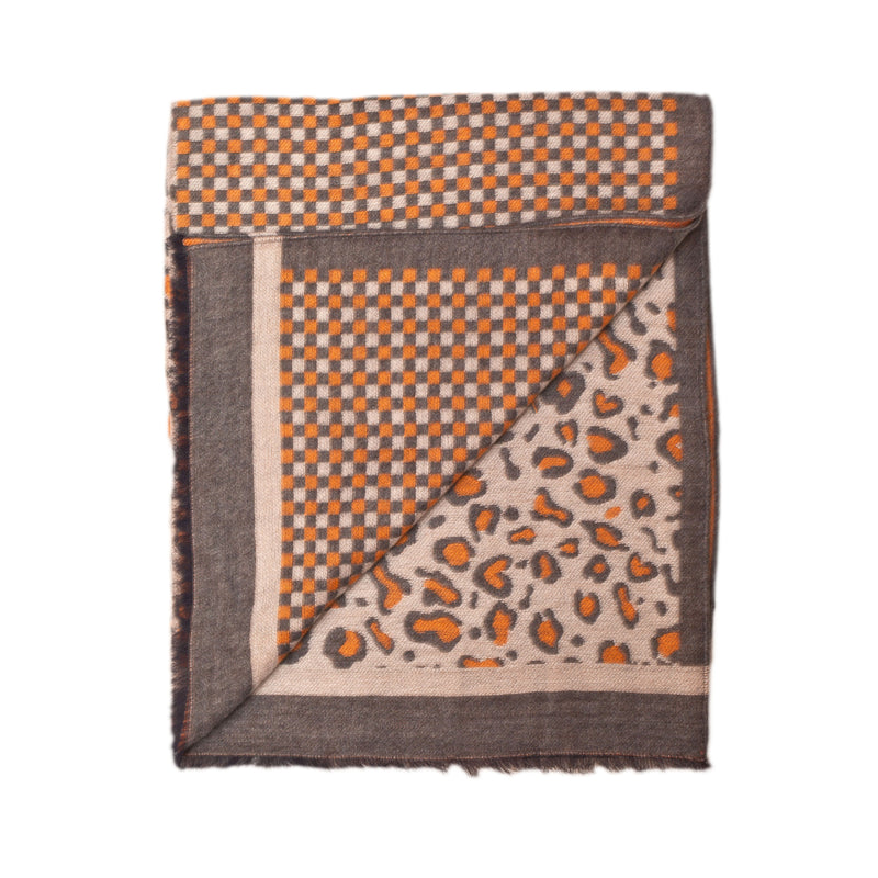 "Unisex Scarf ""LEOPARD ORANGE-GREY"""