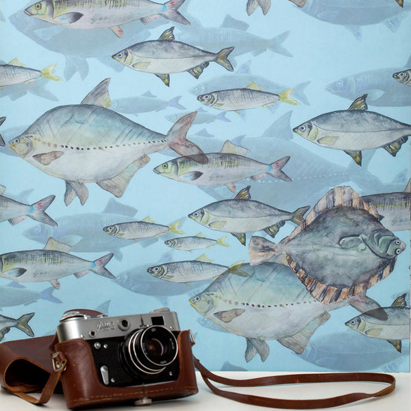 "Wallpaper ""Blue Shoal of Fish"""