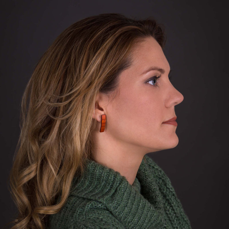 "Curved Earrings ""Zebrano"""