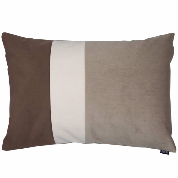 "Velvet Trio Midi Decorative Pillow ""Velvet Brown/Beige"""
