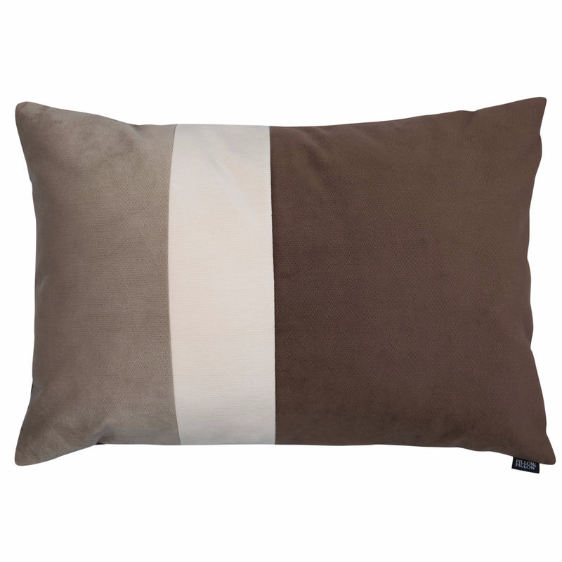 "Velvet Trio Midi Decorative Pillow ""Velvet Beige/Brown"""