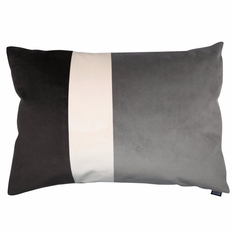 "Velvet Trio Midi Decorative Pillow ""Velvet Dark gray/Gray"""
