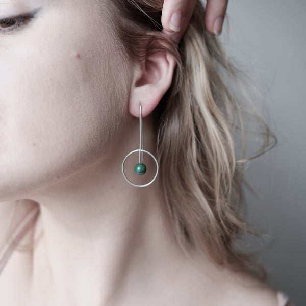 "Abstract Vibes Earrings ""Malachite Planet"""