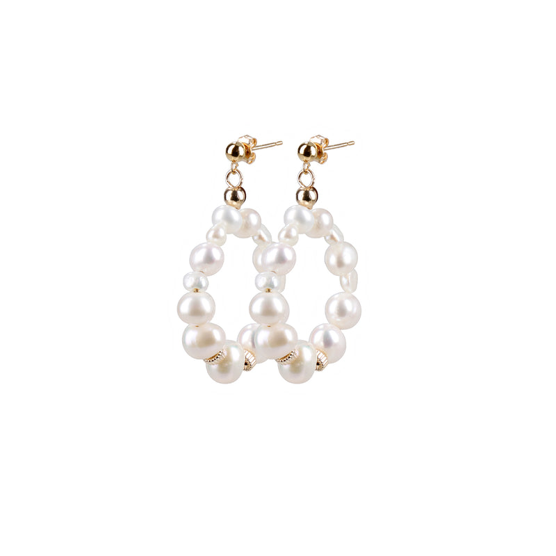 "Hoops Earrings ""Grey Pearl"" Mini"