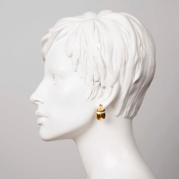 "Gold Scarab Earrings ""NEFFI"""