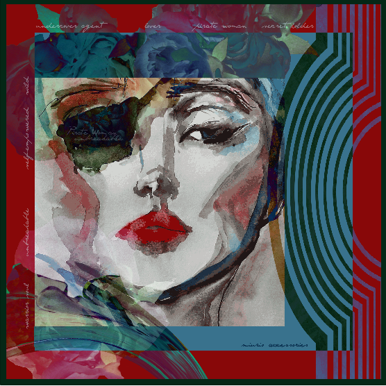 "Silk Scarf ""Pirate Woman Red"""