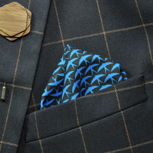 "Pocket Square ""Black+blue"""