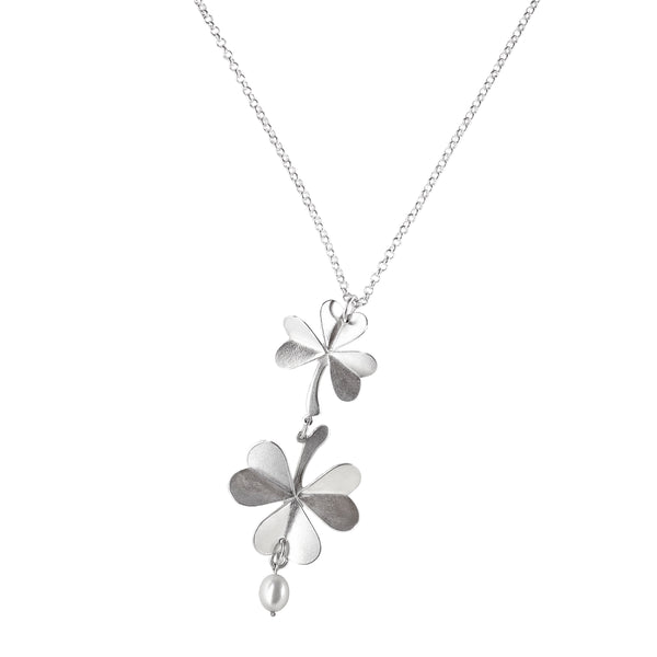 "Necklace ""Clover"" with a Pearl"
