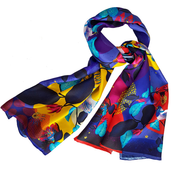 "Silk Scarf ""Secret Garden"" Violet"