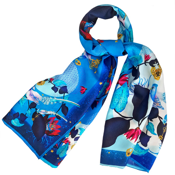 "Silk Scarf ""Secret Garden"" Blue"