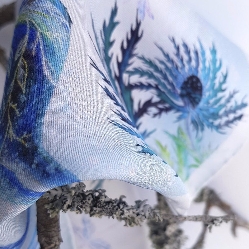 "Silk Scarf ""Sea Holly"" mini"