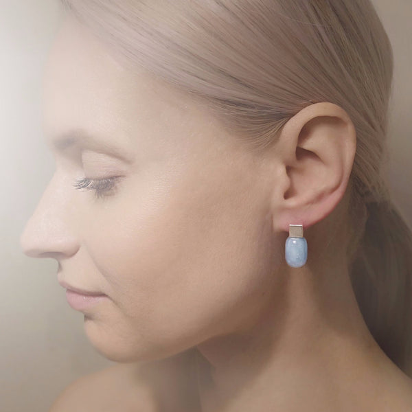 "Earrings ""Pearl Play"" with aquamarines"