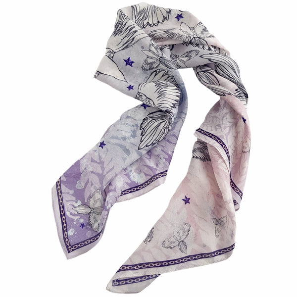 "Modal Wool Scarf ""WHITE DOVE"""