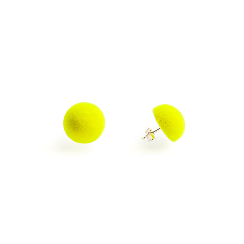 "Plüsch Earrings ""Acid Yellow"" XS"
