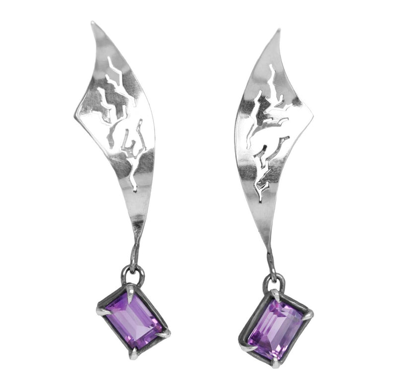"Earrings ""FLashbacks"" with Amethysts"