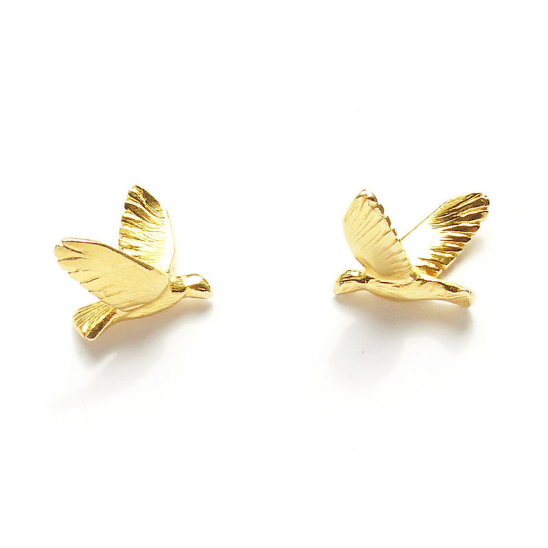 "Birds Earrings ""Gold Yellow"""