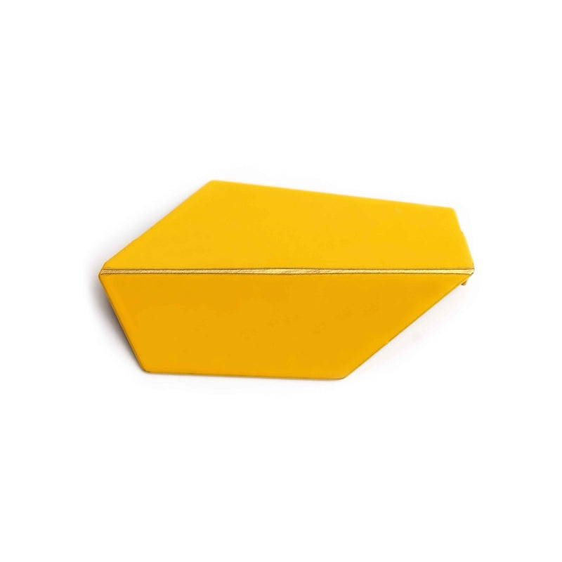 "Folded Brooch ""Traffic Yellow"""