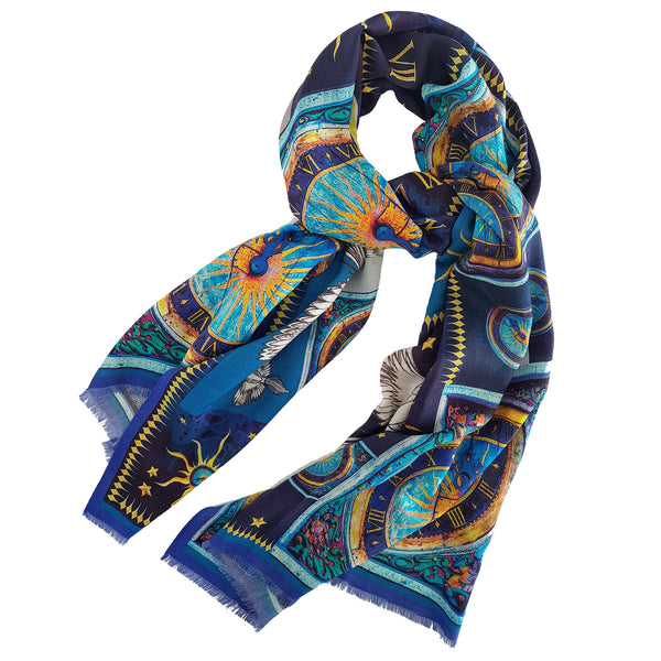 "Silk Wool Scarf ""Clock"""