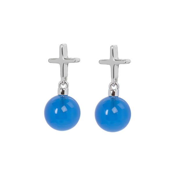 "Crux C Earrings ""Blue"""