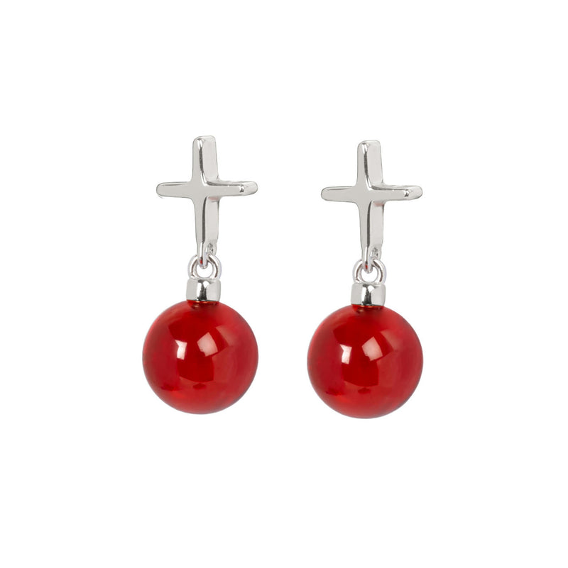"Crux C Earrings ""Red"""